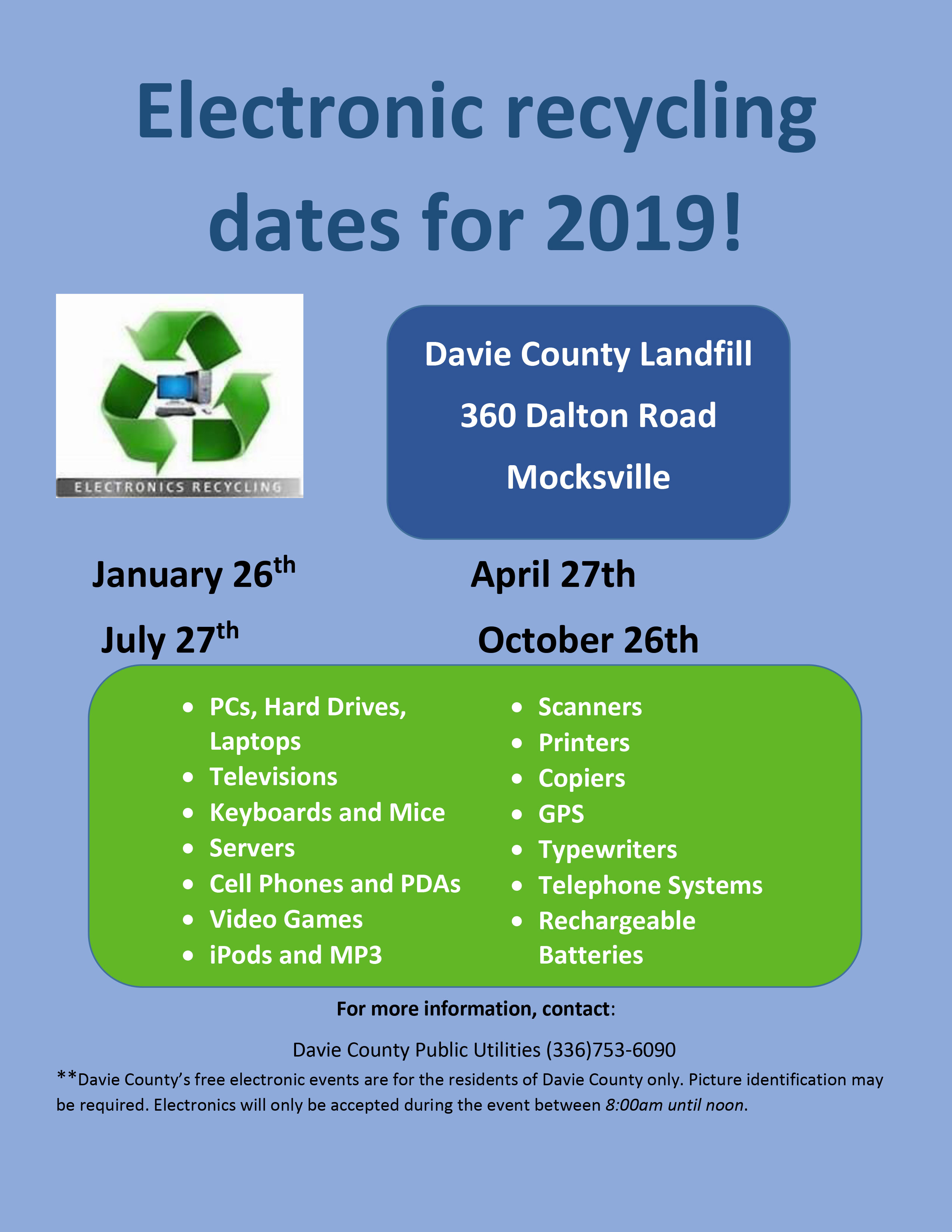 Electronic recycling dates for 2019