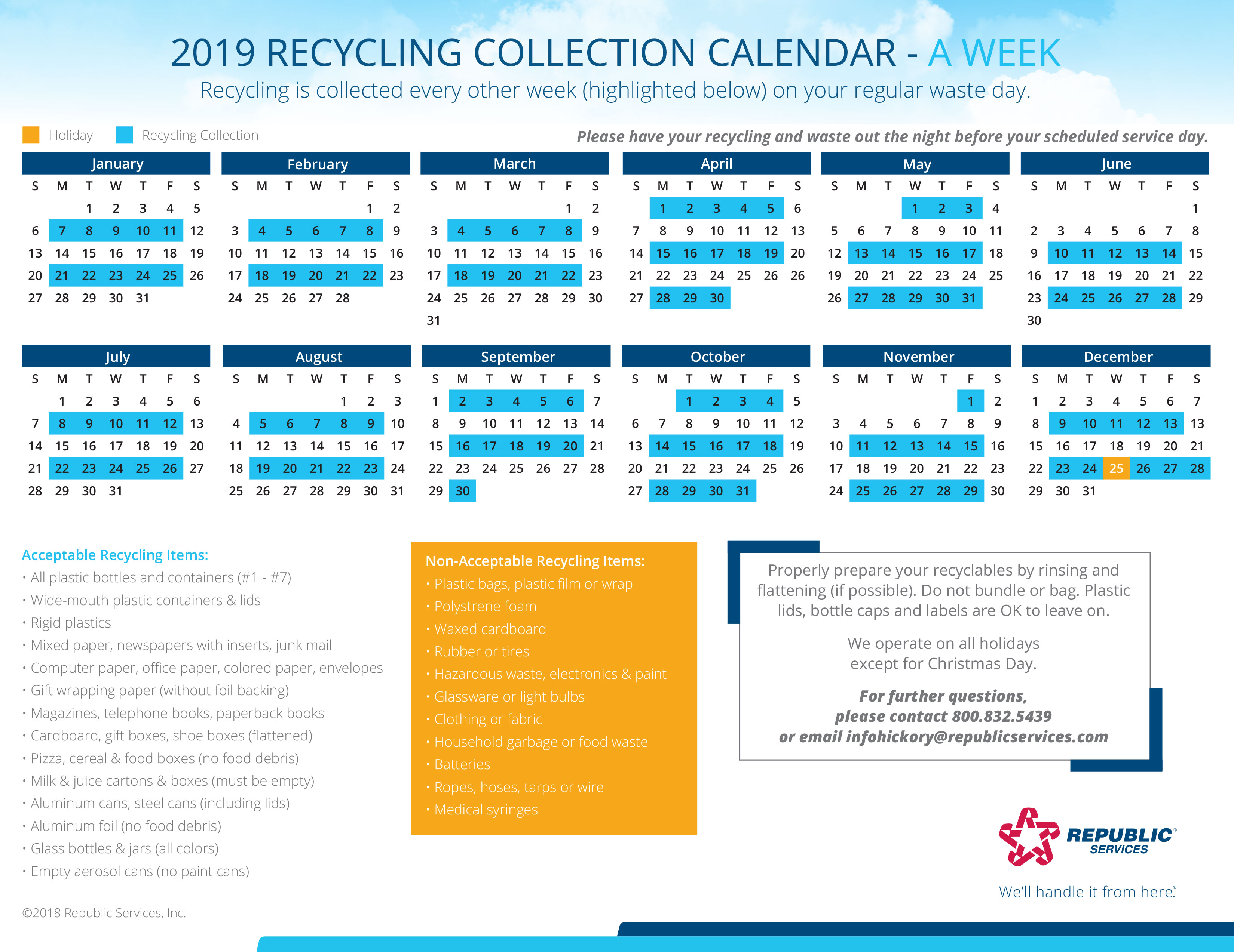 Recycle 2019 A Week Calendar