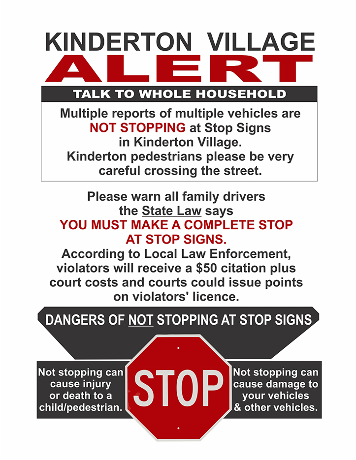 Kinderton Alert Stop Sign